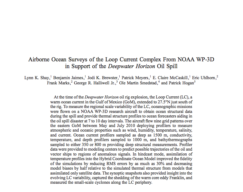 Paper on surveys of the Gulf of Mexico loop current from