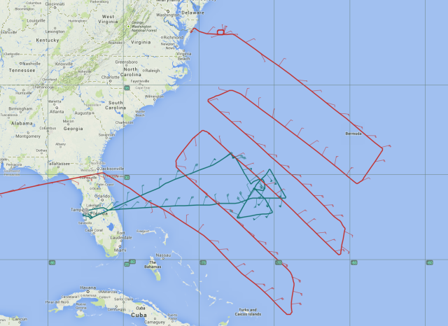 Flight tracks for P-3 (blue) and Global Hawk (red)