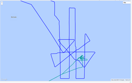 Flight tracks for P-3 (green) and Global Hawk (blue)