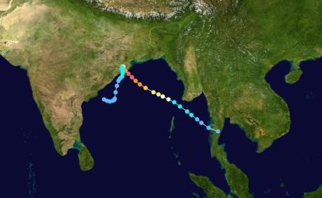Track of Odisha cyclone (Wikipedia)