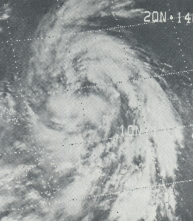 Satellite picture of Typhoon Bess on Oct. 8, 1974