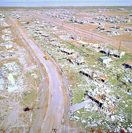 Aerial view of wreckage left by Cyclone Tracy
