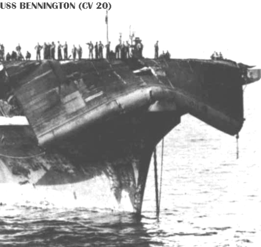 The foredeck of the USS Bennington, collapsed in the high seas of Typhoon Connie.