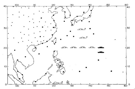 TCM-90 area of operations with rawindsonde sites and ship positions. (BAMS)