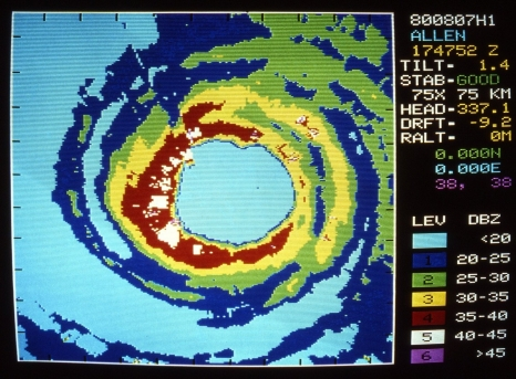 Lower fuscelage radar scan from NOAA P3 flight into Hurricane Allen on Aug. 7, 1980 at 17:47:52 UTC