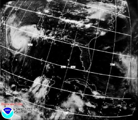 Hurricane Celia satellite picture at landfall.