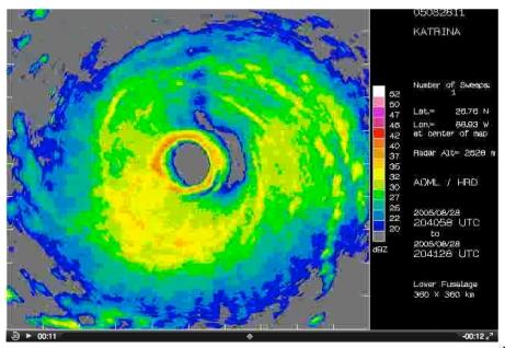 Hurricane Katrina near its peak intensity as seen on NOAA P3's radar