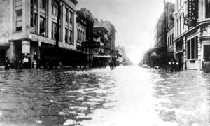 Market Street flooded by the 1915 hurricane