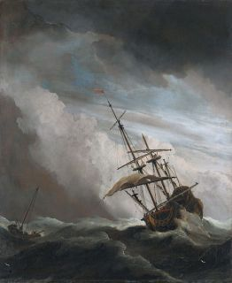 Ship caught in a storm at sea