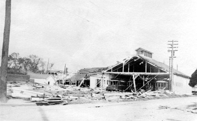 New Orleans street car barn destroyed by 1915 hurricane.