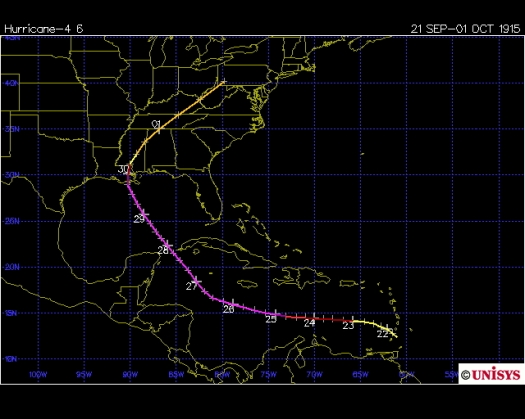 Track of Great New Orleans hurricane 1915 (Unisys)