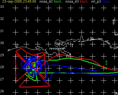 Three aircraft tracks for RAINEX experiment Sept. 23, 2015