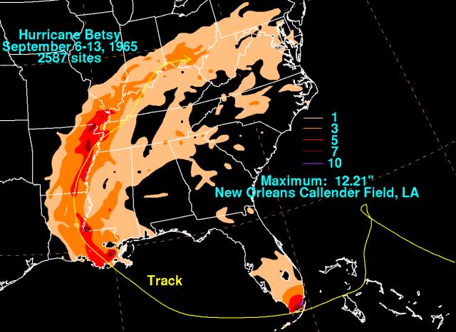 Betsy's rainfall (NOAA/WPC)