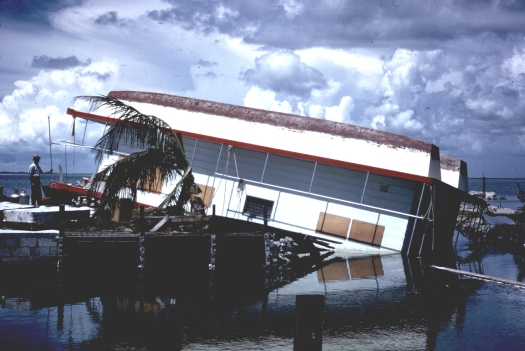 Houseboat damaged by Betsy in the Florida Keys (NHRL/Charlie True)