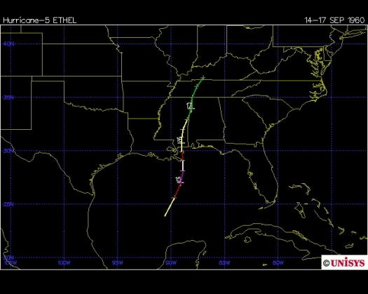 Track of Hurricane Ethel 1960 (Unisys)