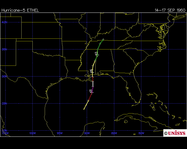 Track of Hurricane Ethel 1960 (Unisys)
