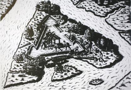 Illustration of the building of Fort Caroline (Histoire de la Marine, de la voile à l'atome, Philippe Masson)