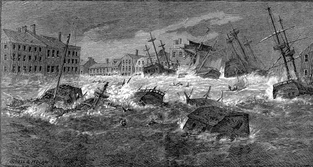 Engraving by Schell & Hogan of the Great Gale of 1815 ()