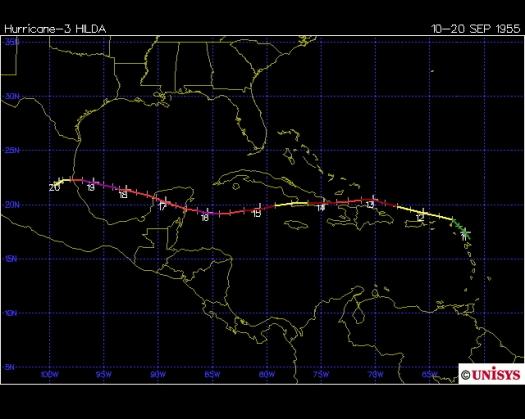 Track of Hurricane Hilda 1955 (Unisys)