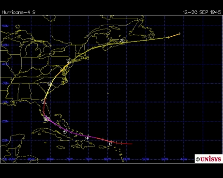 Track of the 1945 Homestead hurricane (Unisys)