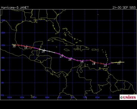 Track of Hurricane Janet 1955 (Unisys)