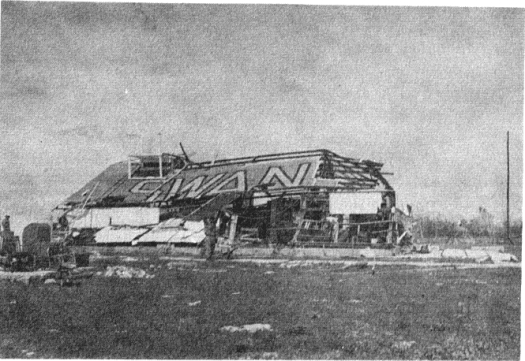 Operations Building on Swan Island after Hurricane Janet (Topics of the U.S. Weather Bureau)
