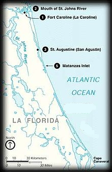 Map showing Ft. Caroline, St. Augustine, and Matanzas Inlet