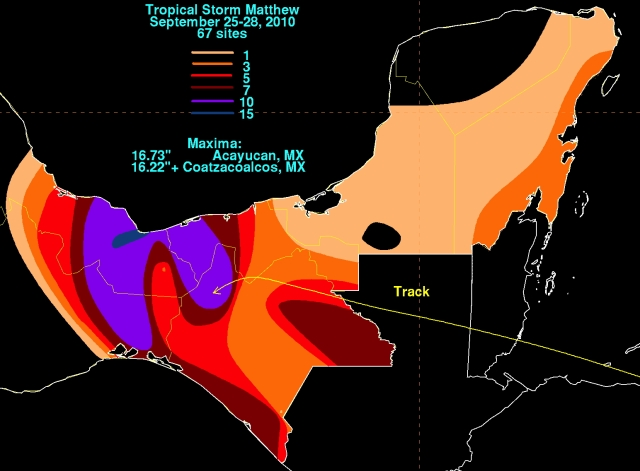Mexican rainfall generated by Matthew 2010 (NOAA/CCP)