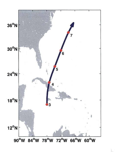 "Probable track of the 1780 Savanna-la-Mer hurricane (from ""Divine Wind"" by Emanuel)"