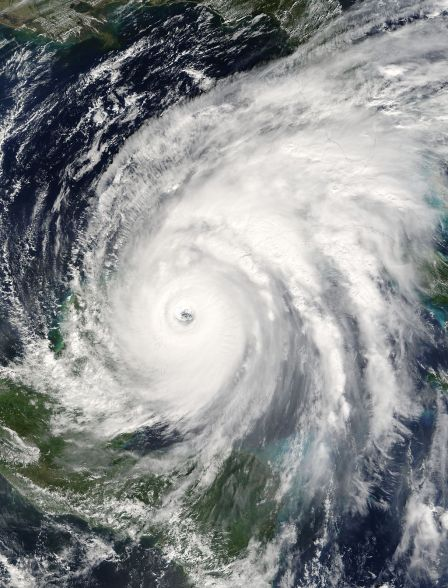 Hurricane Wilma on Oct. 21, 2005, about to strike the Yucatan. (NASA/MODIS)