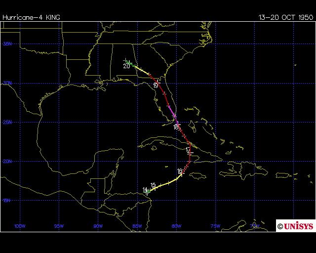 Hurricane King 1950 track (Unisys)