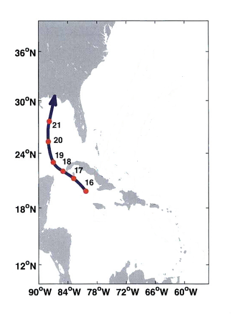 Track of Solano's hurricane of 1780 (from Emanuel's Divine Wind)