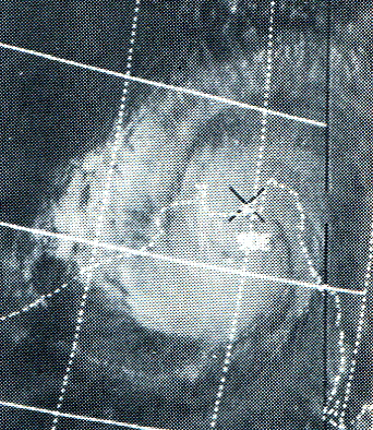 ITOS I satellite picture of Bhola cyclone near peak intensity Nov. 12, 1970 (NOAA)