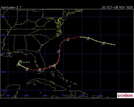 Track of the Yankee hurricane 1935 (Unisys)