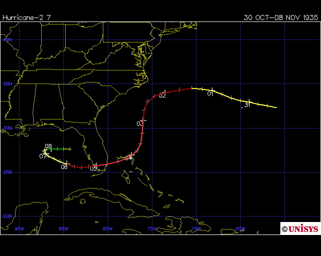 Track of the Yankee hurricane 1935 (Unisys)