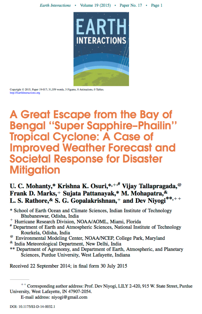 Paper about improved forecasts of Super Cyclone Sapphire
