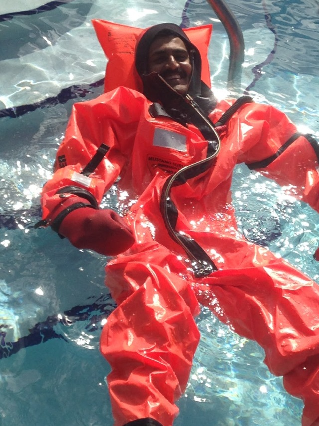 Floating in the pool with the immersion suit. Photo credit: Kathryn Sellwood