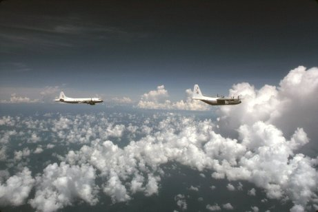 NOAA's P-3 and C-130 aircraft in flight
