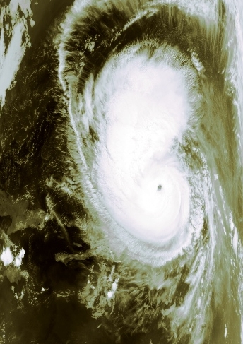 Hurricane Bertha near peak intensity on July 9th, 1996