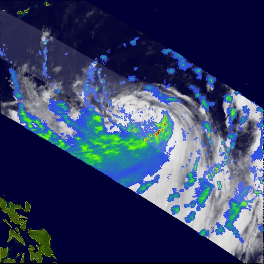 TRMM satellite pass showing heavy rainfall south of Bilis' center (NASA)