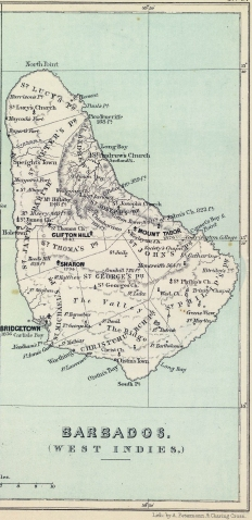 1853 map of Barbados
