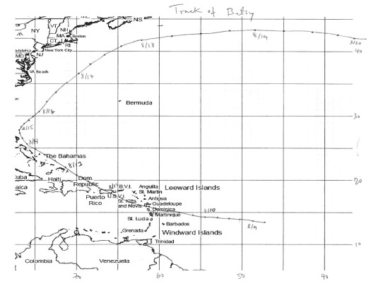 Track of Hurricane Betsy 1956