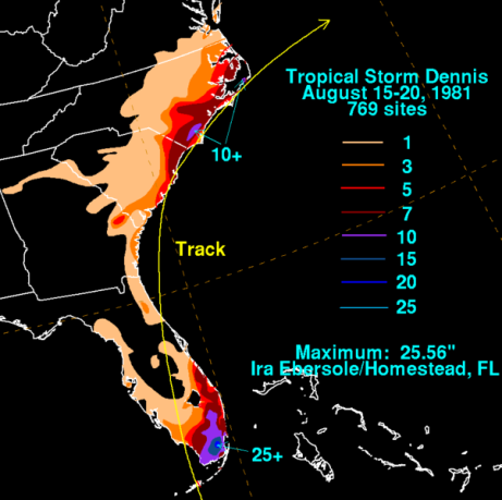 Rainfall totals resulting from Dennis 1981. David Roth (NOAA/WPC)