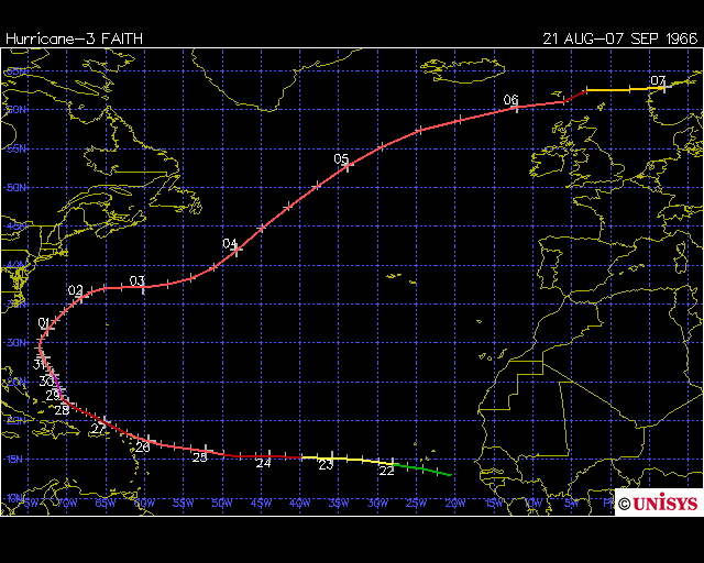 Track of Hurricane Faith 1966 (Unisys)