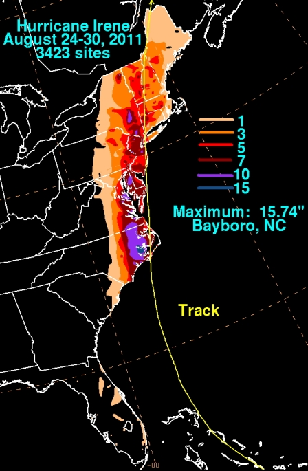 Irene's rainfall in the U.S. (NOAA/WPC)