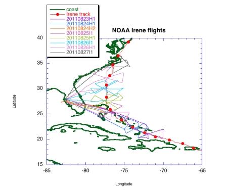 Tracks of NOAA flights into Hurricane Irene
