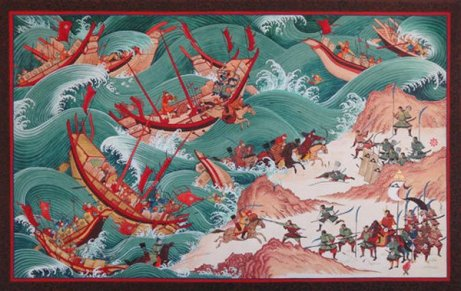 A contemporary depiction of the Mongol fleet in the throes of the typhoon