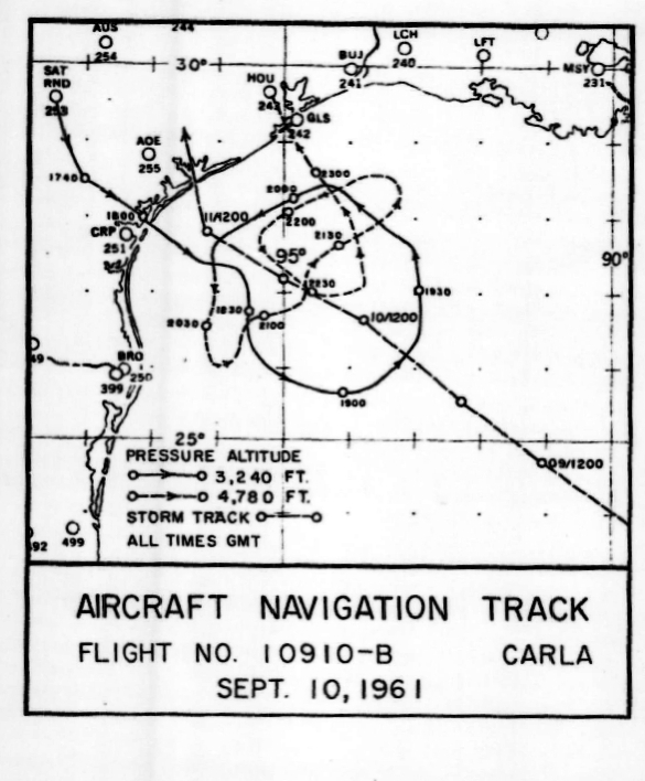 Track of research flight on Sept. 10, 1961 into Hurricane Carla