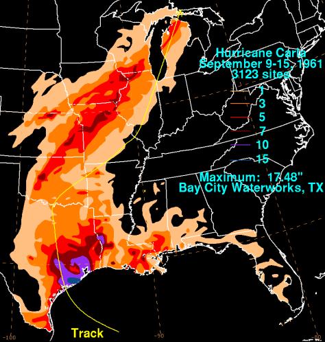 Hurricane Carla 1961 rainfall (NOAA/WPC)