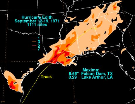 Hurricane Edith's U.S. rainfall totals. (NOAA/WPC)